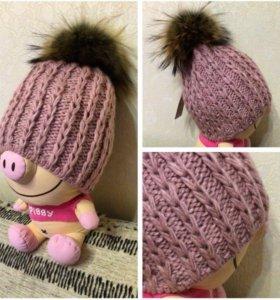 Женская розовая шапка натуральный мех