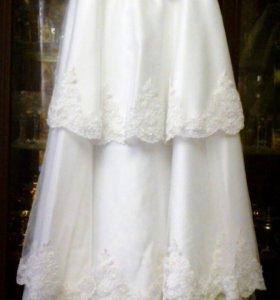 Изящное Свадебное Платье, новое + фата, подвязки