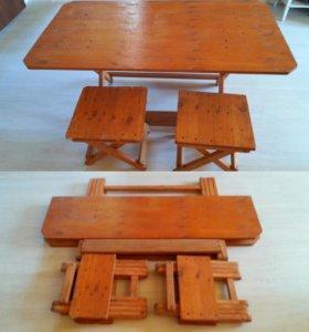 Раскладной стол со стульями