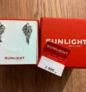 Серьги Sunlight, серебро НОВЫЕ