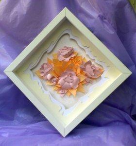 """""""Розовый букет"""" Картина в технике бумагопластика"""