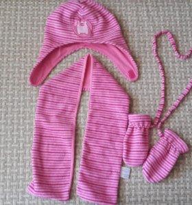 Комплект шапка, шарф, рукавички