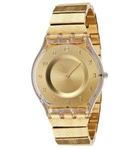 Позолоченные часы swatch