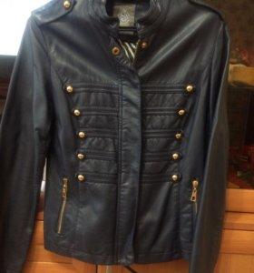 Курточка кожаная темно синяя