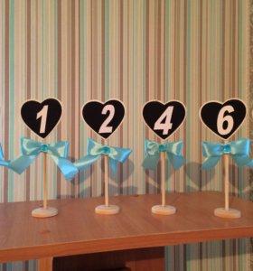 Таблички на свадебный стол с номером