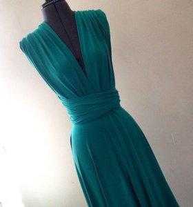 Изумрудное платье-трансформер