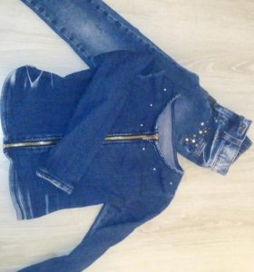 Джинсовый жакет и джинсики на 5-6лет