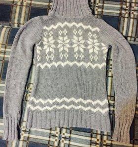 Свитер зимний вязаный серый