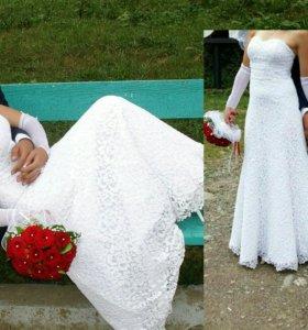 Беленькое свадебное платье