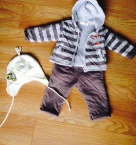 Костюм детский+шапочка на весну-осень, рост 74см