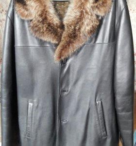 Кожанное зимнее пальто
