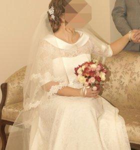 Свадебное платье +фата в подарок!