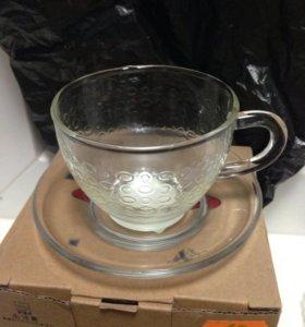 Чашка с блюдцем стекло