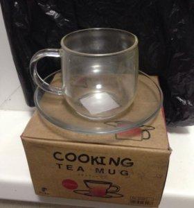 Чашка с блюдцем (стекло)