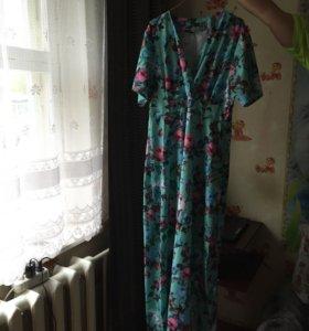 Платье в пол, с поясом