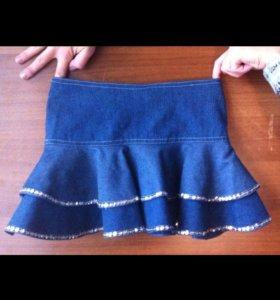 Костюм на девочку ( джинсовая юбка + пиджак )