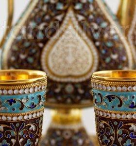 Серебряный эмалированный винный набор
