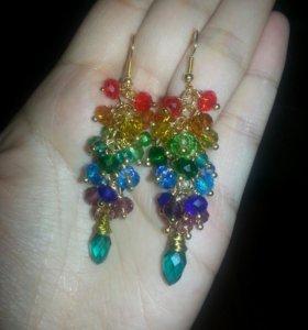 Серьги-грозди радуга. Подарок на 8 марта