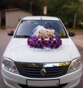 Украшения на свадебный автомобиль,мишки
