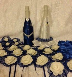 Оформление шампанского, бокалов, свеч для свадьбы