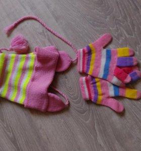 Шапка осенняя -весенняя + перчатки
