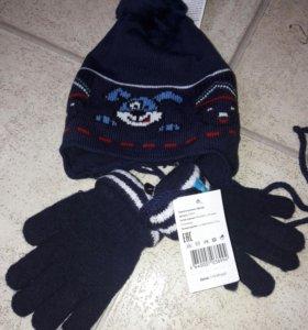 Новый набор на 2/3 осень/весна из шапки и перчаток