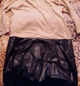 Платье внизу кожа