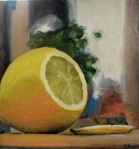 """Картина маслом. Натюрморт """"Лимон"""" 2013г"""