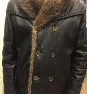 Куртка кожаная с енотом (натурал.кожа, натурал.мех