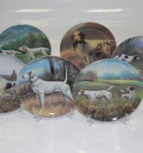 Декоративная тарелка фарфор Собаки на охоте 19см