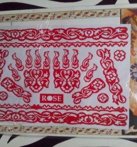 Большой лист трафаретов для росписи хной. Менди.