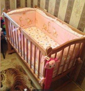 Кровать качалка с матрасом