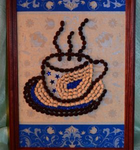 Панно из кофейных зёрен и фасоли