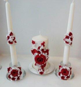 свадебные свечи. цветы из полимерной глины