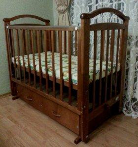 Кроватка-качалка+экоматрас новый!