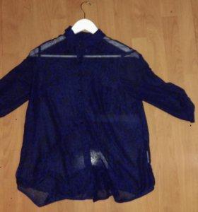 Рубашка леопардовая темно-синяя