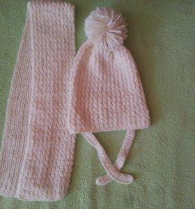 Шапка с шарфом ручная вязка