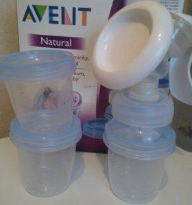 Молокоотсос AVENT+два контейнера в комлекте
