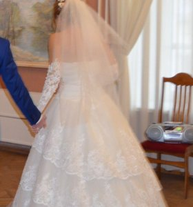 Свадебное платье, меховое балеро