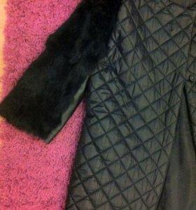 Пальто с натуральным мехом кролика
