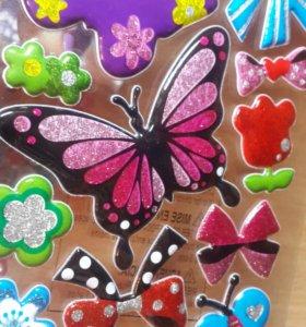 Стикеры с блестками Бабочки