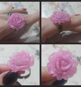 Кольцо Цветок розовый