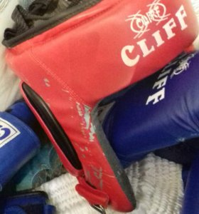 Боксерские шорты,перчатки  ,майка синяя и шлем.