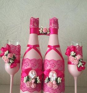Декор свадебных бутылок и бокалов