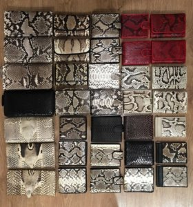 Кошельки портмоне из натуральной кожи змеи питона