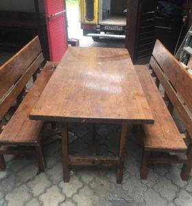 Стол деревянный с лавками (массив)