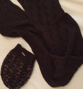 Шапка+шарф для зимы и осени.