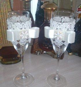 Свадебные бокалы ( ручная работа)
