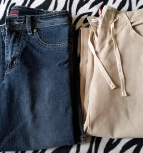 Новые льняные брюки и джинсы 40 размер
