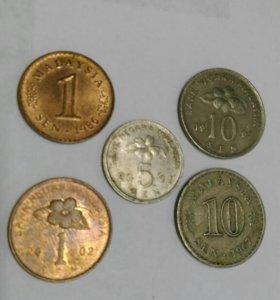 Монеты Малайзии 5 штук